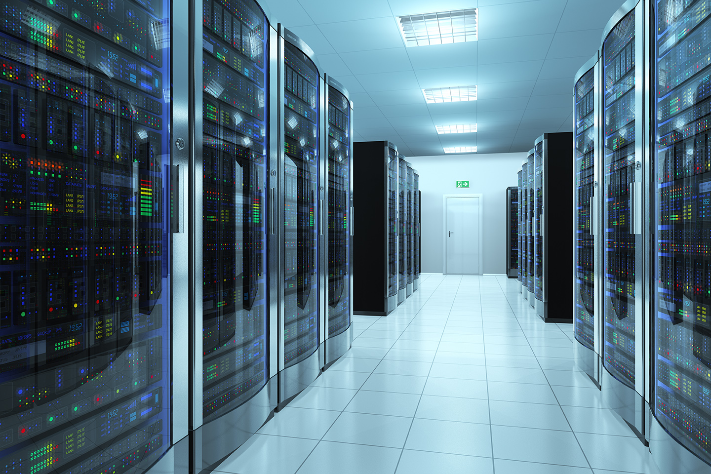 Modern network and telecommunication technology computer concept: server room in datacenter