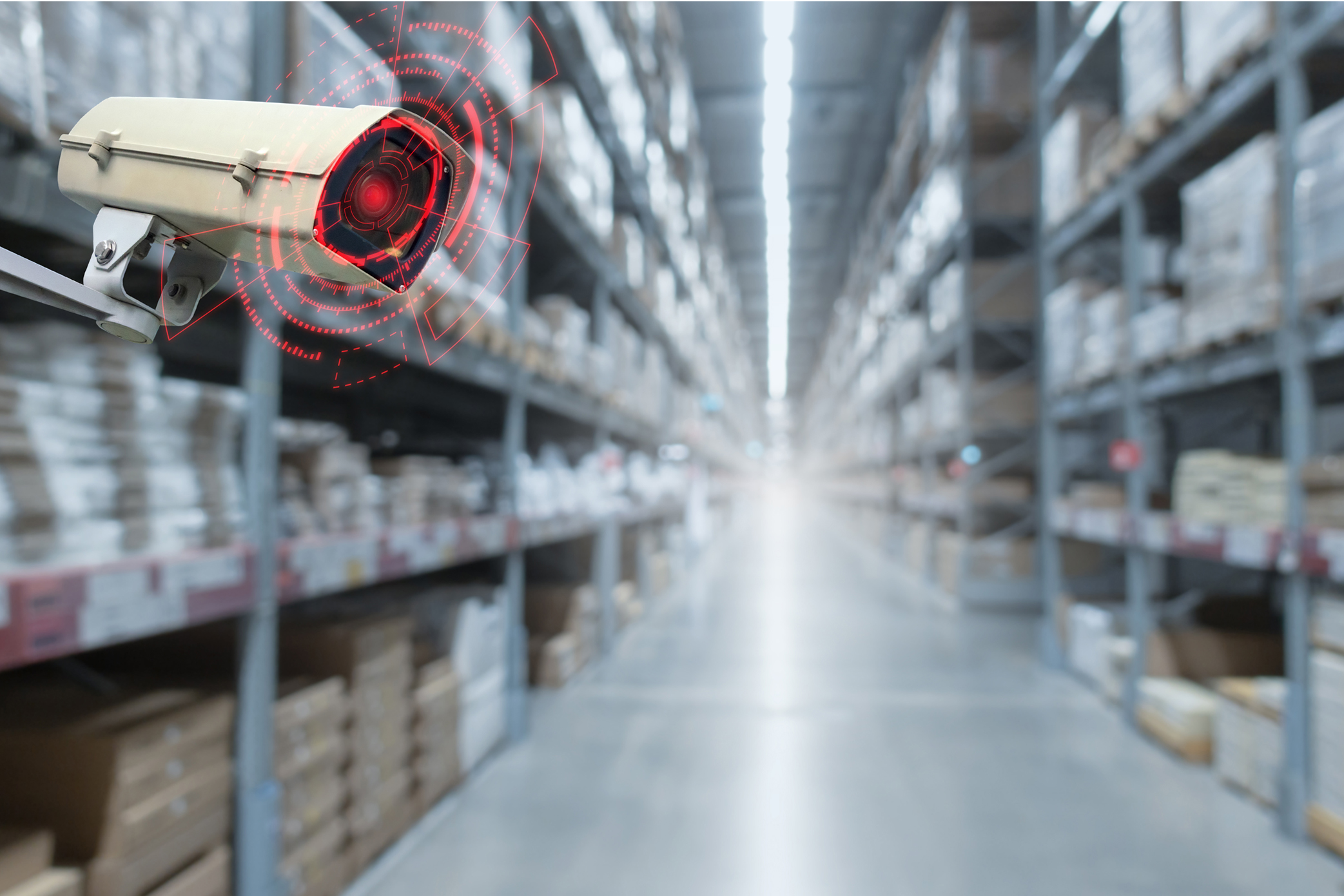 CCTV. security camera motion detect system operating in warehouse interior with product on shelves in shopping mall, cctv solution management , surveillance security, intelligent technology concept